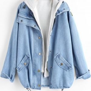 Button up denim jacket and hooded vest